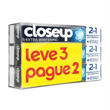 Creme Dental CLOSE UP Extra Whitening Leve 3 pague 2 Unidades 90g